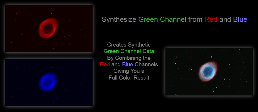 [Creates a synthetic green channel from red and blue data to form a full-color RGB image.]